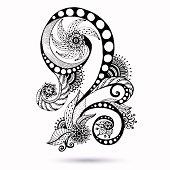 Paisley Mehndi design element for henna