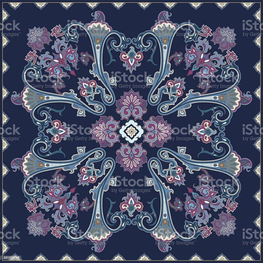 Paisley pattern, colour scarf design vector art illustration