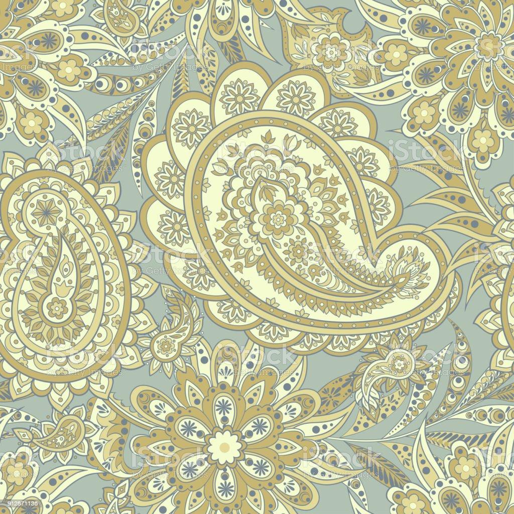 Ilustración de Patrones De Flores Sin Fisuras Paisley Fondo Vintage ...