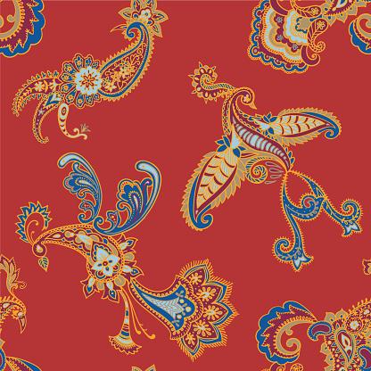 Paisley seamless pattern. Decorative bird. Animal background.