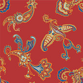 istock Paisley seamless pattern. Decorative bird. Animal background. 1223245010