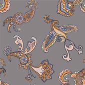 Paisley animal background. Seamless pattern with fantasy birds. Firebirds in Paisley style. Folk Oriental motif.