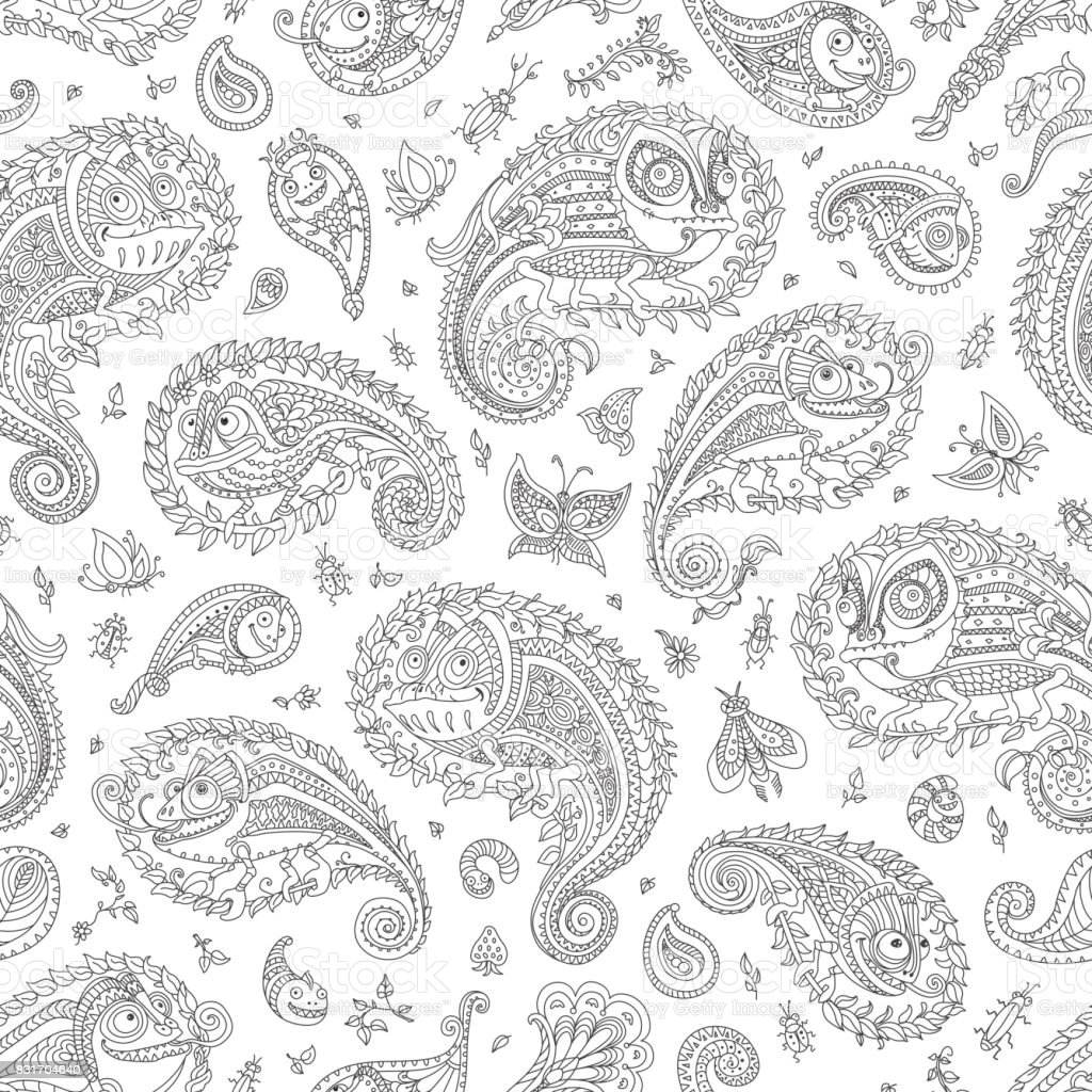 Paisley Seamless Pattern From Doodle Elements Fantastic Chameleon Silhouette Flower Branch Leaves