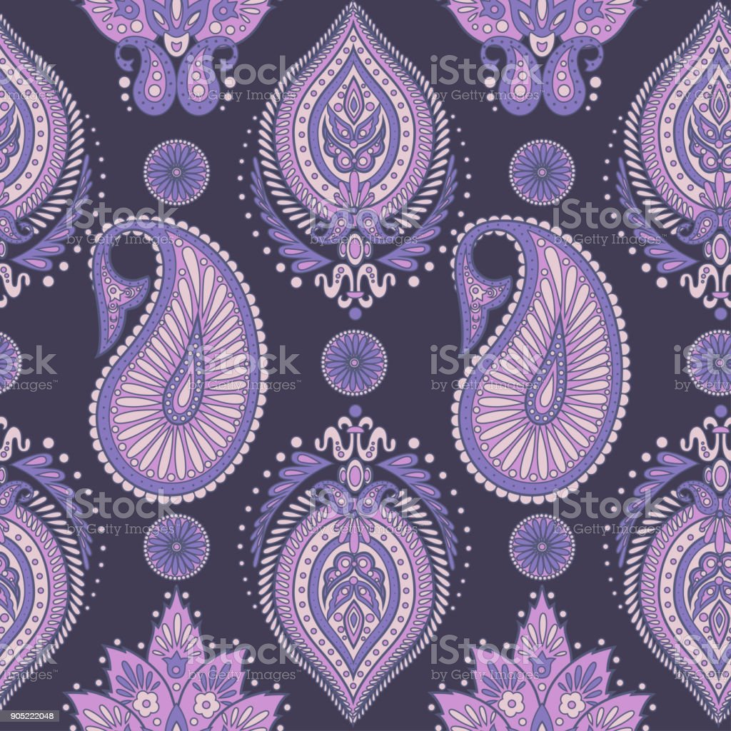 Paisley Seamless Pattern Vintage Floral Wallpaper Royalty Free