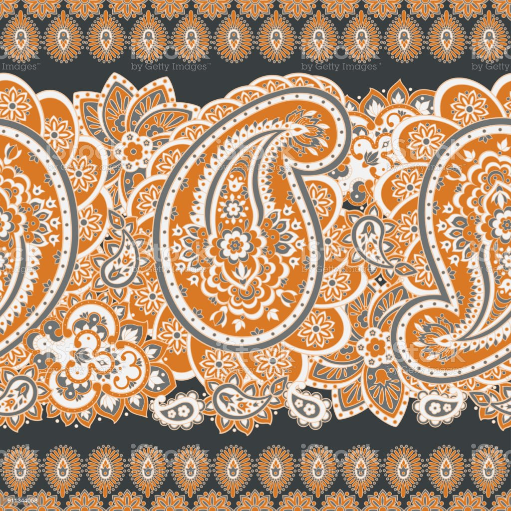 Paisley Seamless Pattern Vintage Floral Wallpaper Stock