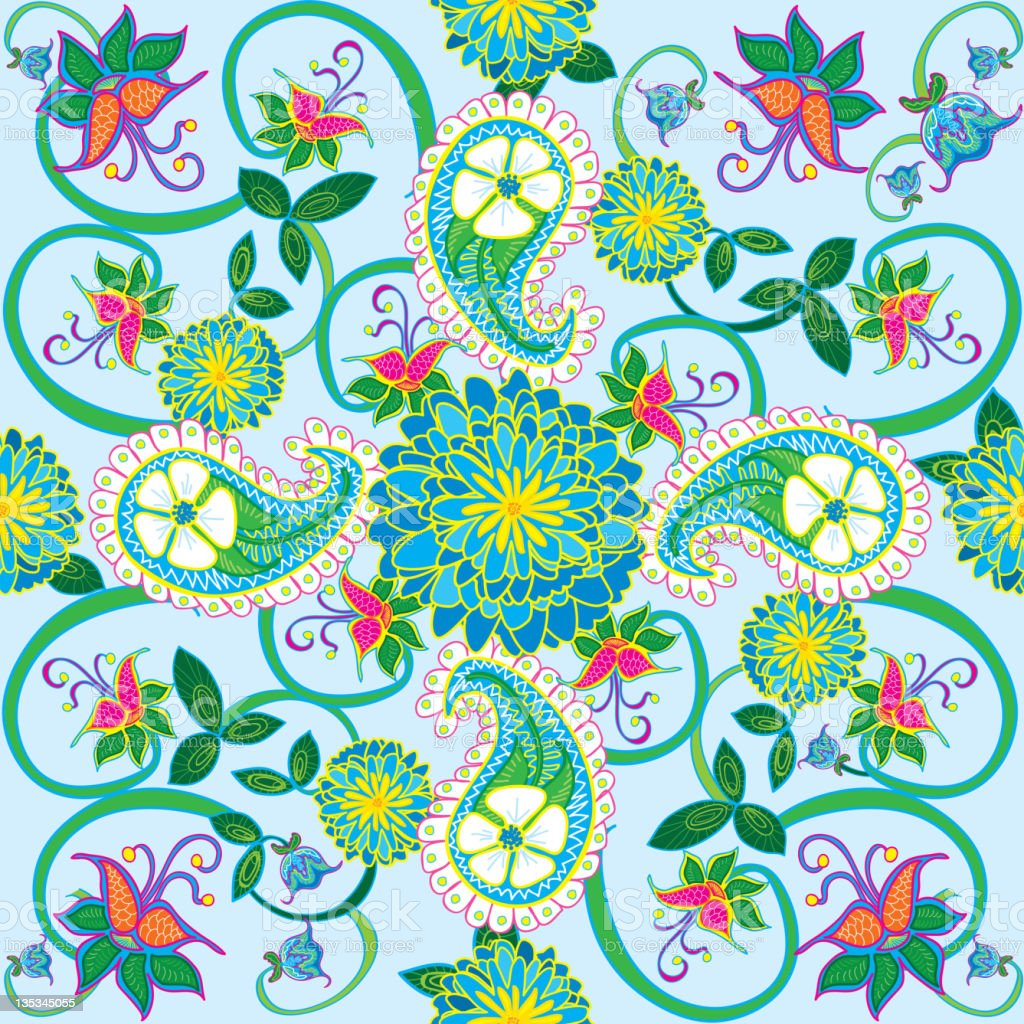 Paisley Seamless Pattern With Blue Peony Wallpaper Royalty Free