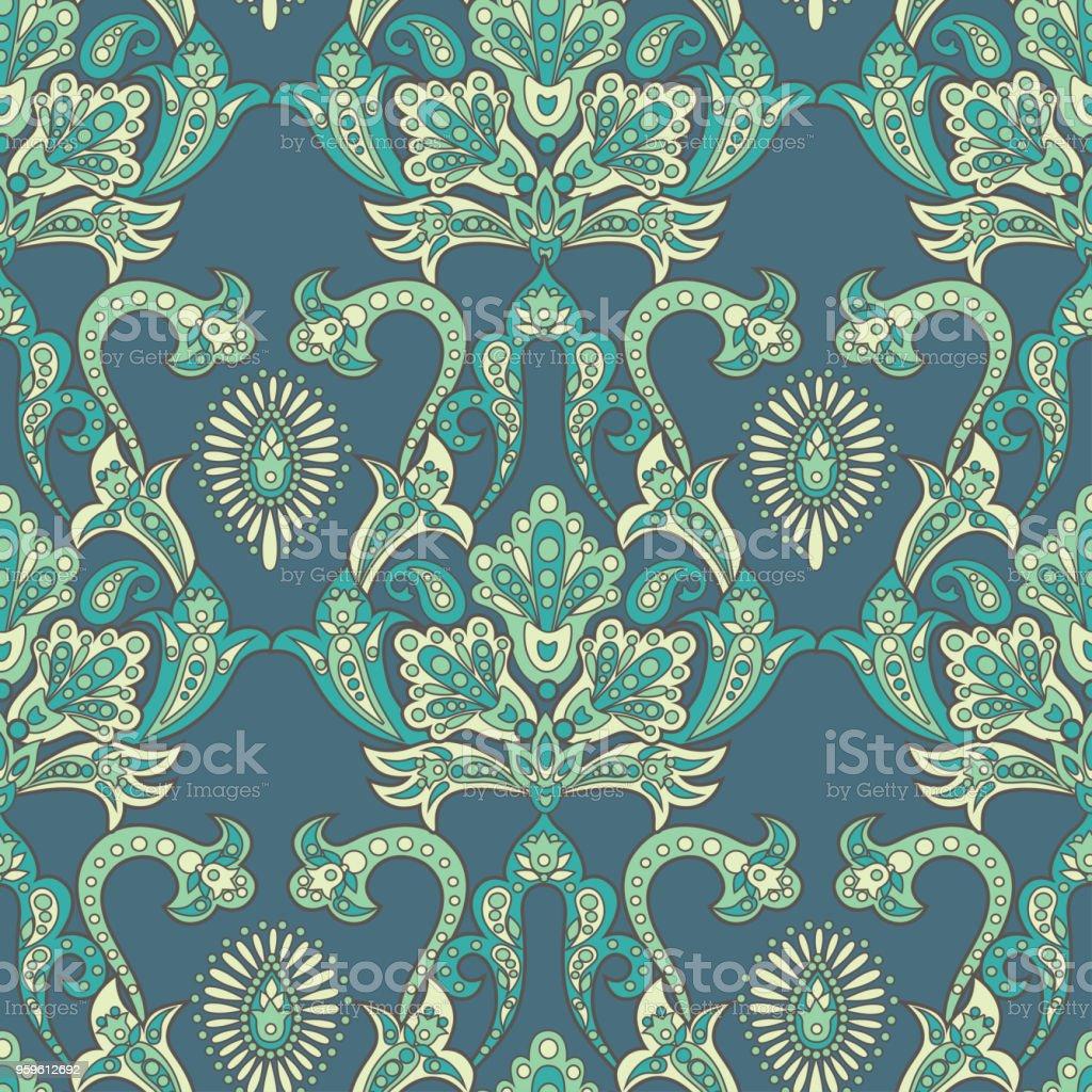 Patrón sin fisuras de Paisley con adornos indios. Fondo de vector - arte vectorial de Arabesco - Diseño libre de derechos