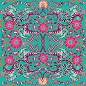 Paisley seamless texture with colorful flowers and leaves, Vector.