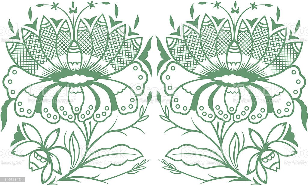 paisley style flower royalty-free stock vector art