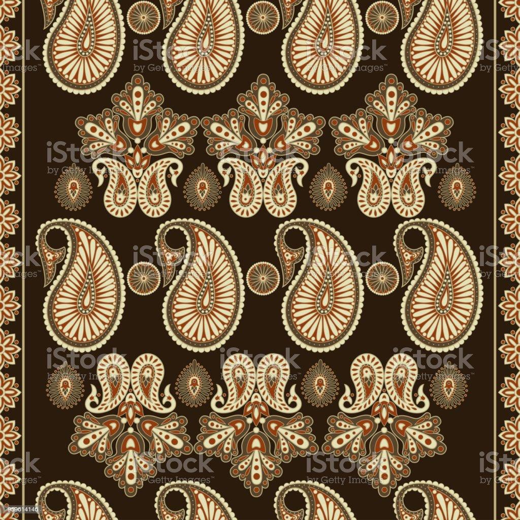 patrón de Paisley vintage en estilo batik indio. Fondo de vector floral - arte vectorial de Anticuado libre de derechos