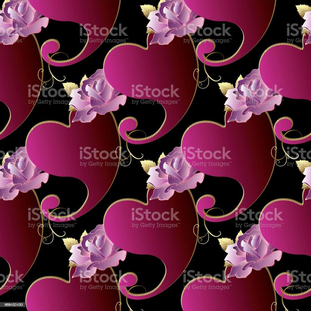 Paisleys seamless pattern. Love heart background. Roses wallpaper....