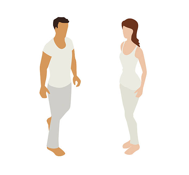Pajama Couple Spot Illustration vector art illustration