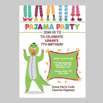 Pajama kids party invitation