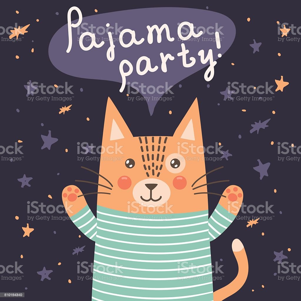 Pajama party card with a cute cat vector art illustration