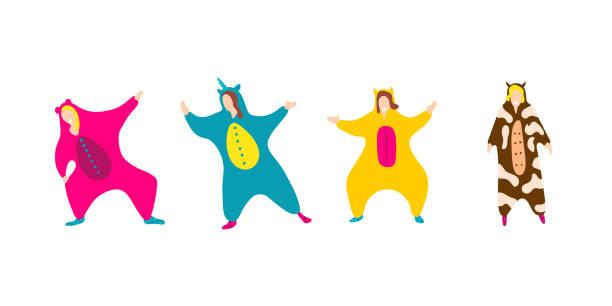 Pajama party. Happy friends in pajamas costume isolated Pajama party. Happy friends in pajamas costume sleepwear. Trendy flat people vector illustration. Cute cartoon character unicorn, cow. Birthday party. Cartoon happy dancing isolated people. infant bodysuit stock illustrations