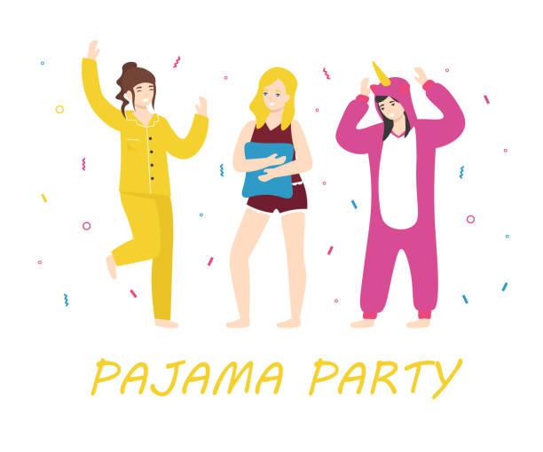 ilustrações de stock, clip art, desenhos animados e ícones de pajama party happy women - unicorn bed