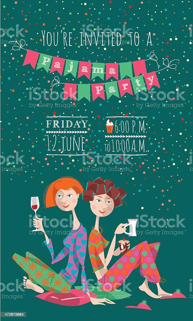 Pajama party. Invitation. vector art illustration