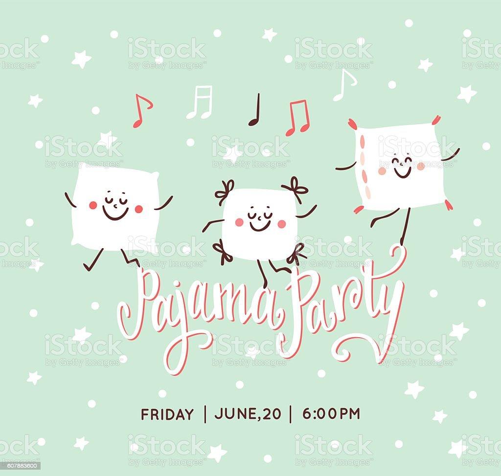 Pajama party invitation vector art illustration