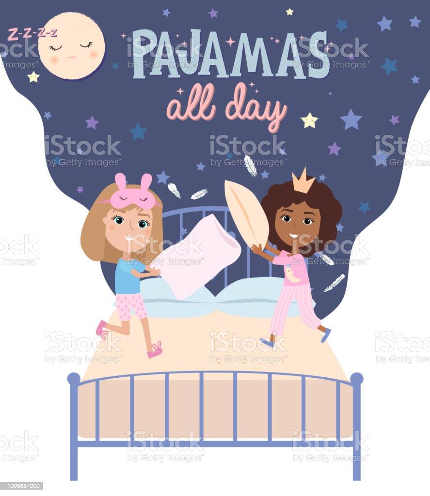 Affiche Parti Pyjama Avec Plaisir Filles Invitation Pour Soirée Pyjama Vecteurs Libres De Droits Et Plus D Images Vectorielles De Adolescent