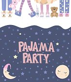 Pajama party poster with fun girls. Invitation for slumber party. Editable vector illustration