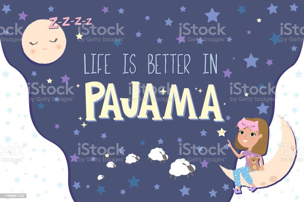 Pyjama Party Poster Mit Spaß Mädchen Einladung Zur