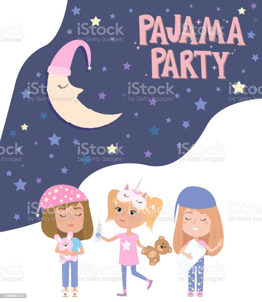 Affiche Parti Pyjama Avec Plaisir Filles Invitation Pour