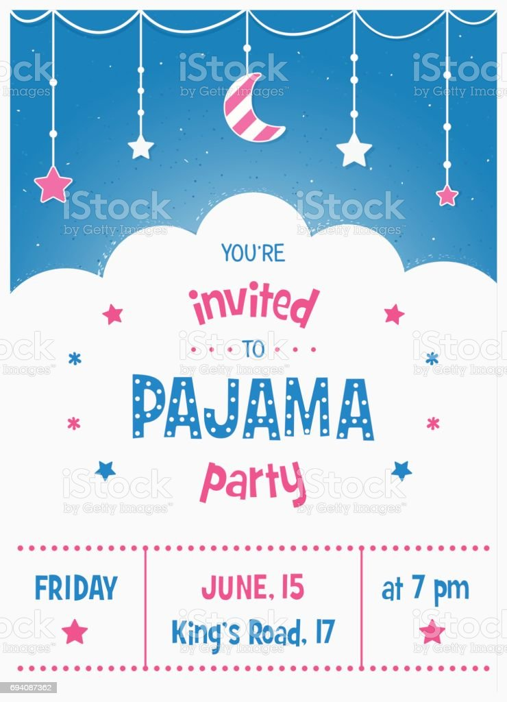 Pajama Sleepover Kids' Party Invitation Card or Poster Template vector art illustration