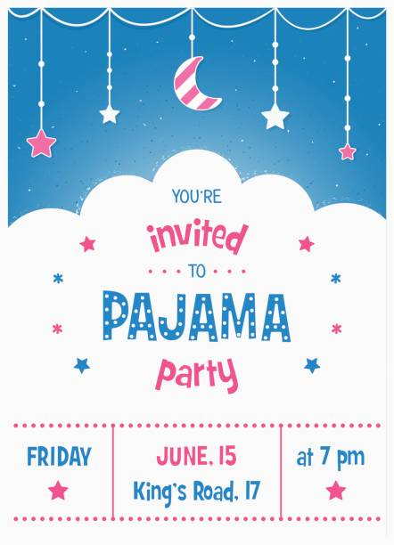 pajama sleepover kids party invitation card or poster template vector art illustration