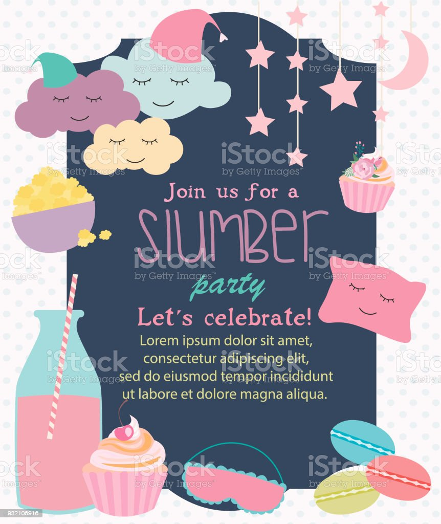 Pajama Sleepover Kids Party Invitation Card Or Poster