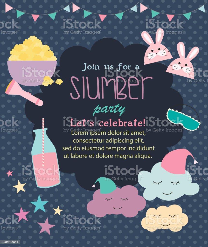 Ilustración De Poster Plantilla O Tarjeta Invitación Fiesta Pijama Pijamada Infantil Y Más Vectores Libres De Derechos De Alimento