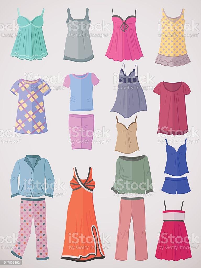 Pajamas and nighties in flat design vector art illustration