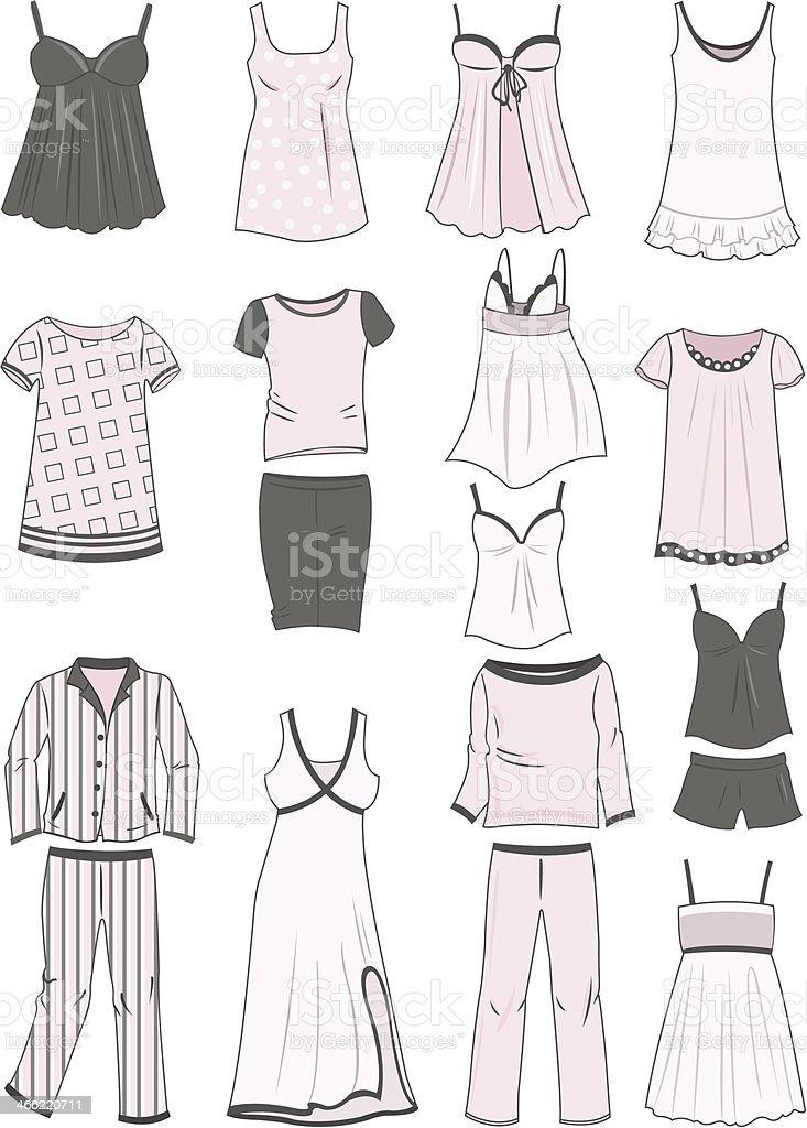 Pajamas and nighties vector art illustration