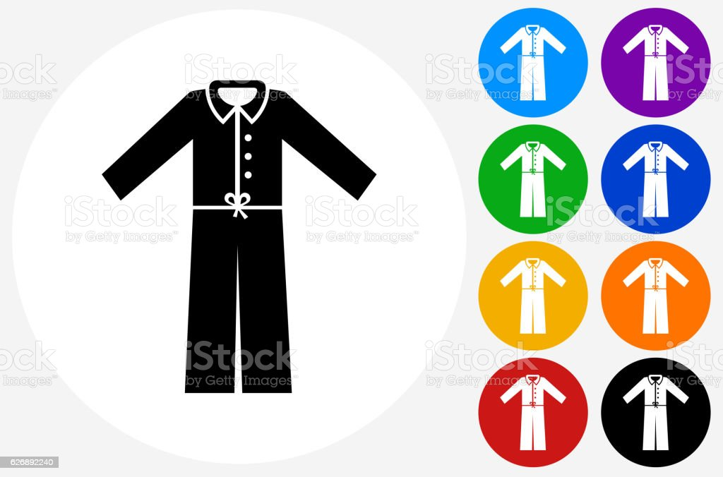 Pajamas Icon on Flat Color Circle Buttons vector art illustration