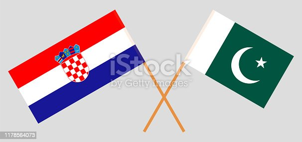 Pakistan and Croatia. Crossed Pakistani and Croatian flags. Official colors. Correct proportion. Vector illustration