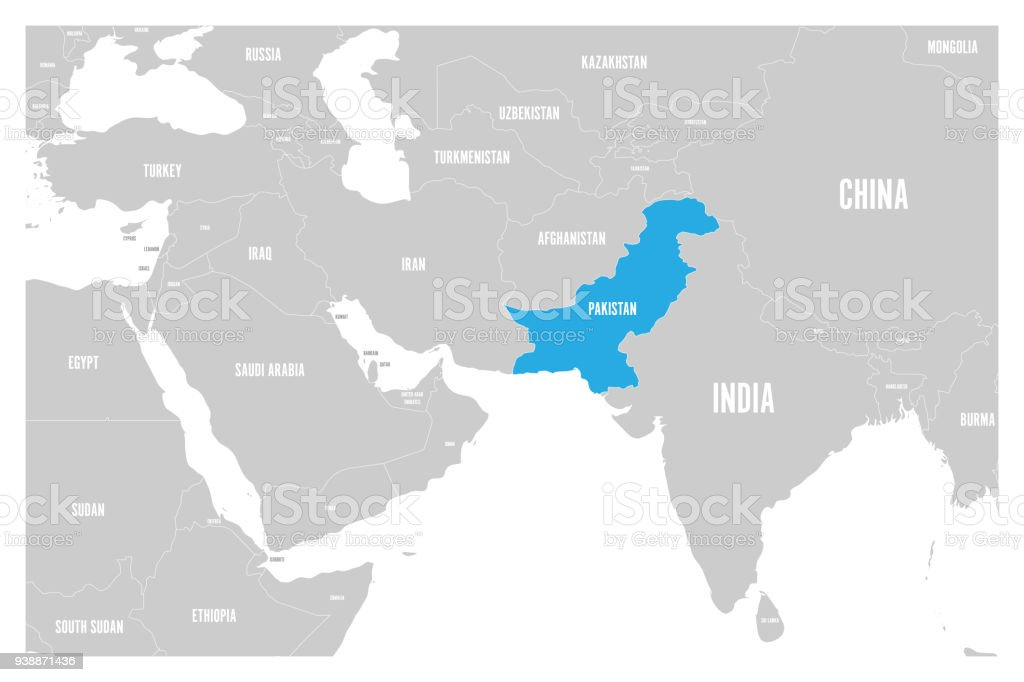 pakistan blue marked in political map of south asia and middle east simple flat vector