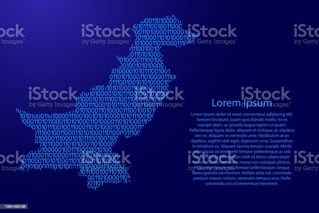 Pakistan Map Abstract Schematic From Blue Ones And Zeros