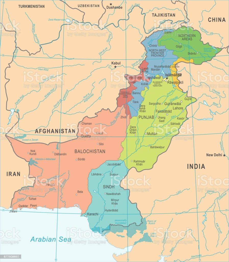 Pakistan Map Detailed Vector Illustration Stock Illustration