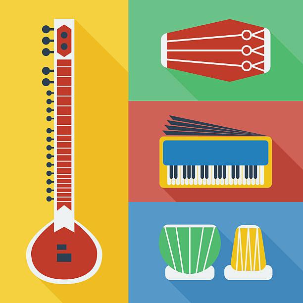 Pakistan musical instruments icons Pakistan musical instruments icons including Sitar, Dholak, Harmonium and Tabla tavla stock illustrations