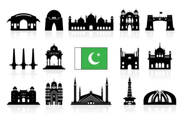 Pakistan Travel Landmarks icon set. Pakistan Travel Landmarks icon set. Vector and Illustration lahore pakistan stock illustrations