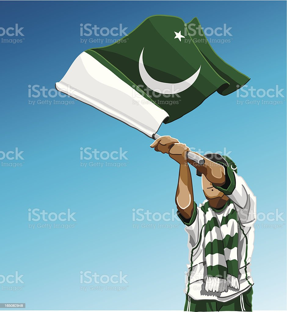Pakistan Waving Flag Soccer Fan royalty-free pakistan waving flag soccer fan stock vector art & more images of adult