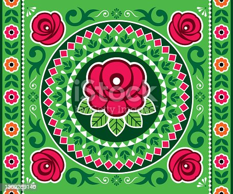 istock Pakistani and Indian truck art vector seamless pattern or horizontal poster design with roses, floral motif mandala, Diwali vibrant pattern 1309269140