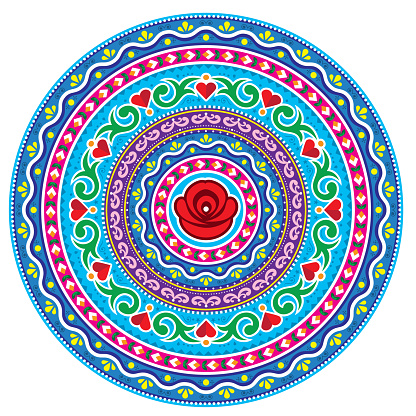 Pakistani or Indian truck art inspired vector mandala design, Diwali round art with flowers, leaves and hearts