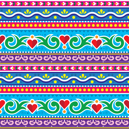 Pakistani or Indian truck art  vector seamless pattern, Diwali art with flowers, leaves and hearts