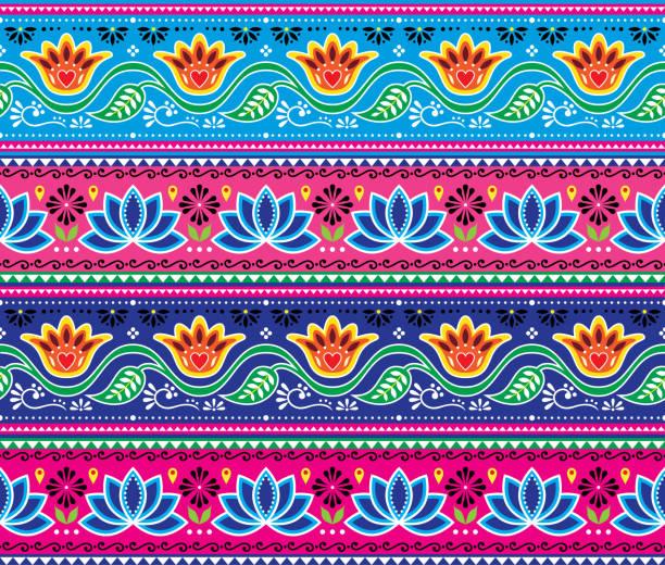 stockillustraties, clipart, cartoons en iconen met pakistaanse of indische truck art vector naadloze patroon, floral vrolijk design, diwali repetitieve decoraties - turkse cultuur