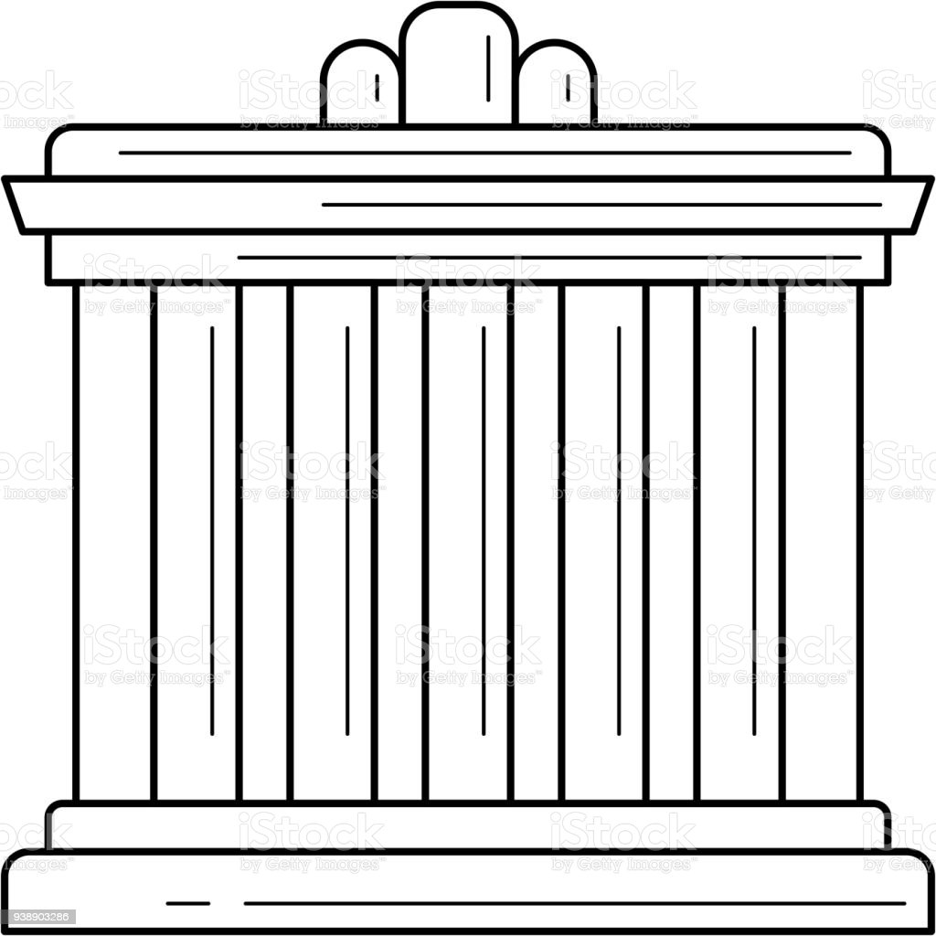 Palace Athens line icon vector art illustration