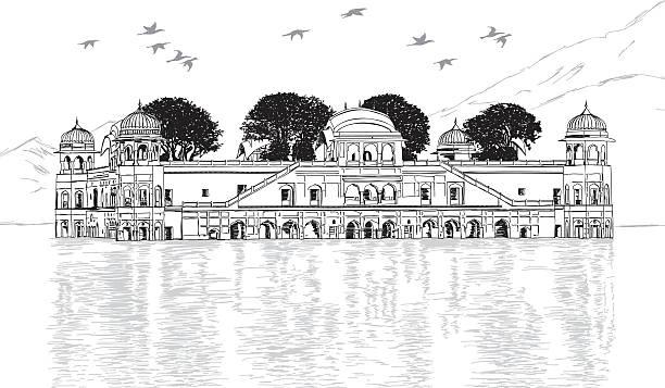 Palace in Water - Jal Mahal, Rajasthan, India Vector Illustration Palace in Water - Jal Mahal, Rajasthan, India Vector Illustration udaipur stock illustrations