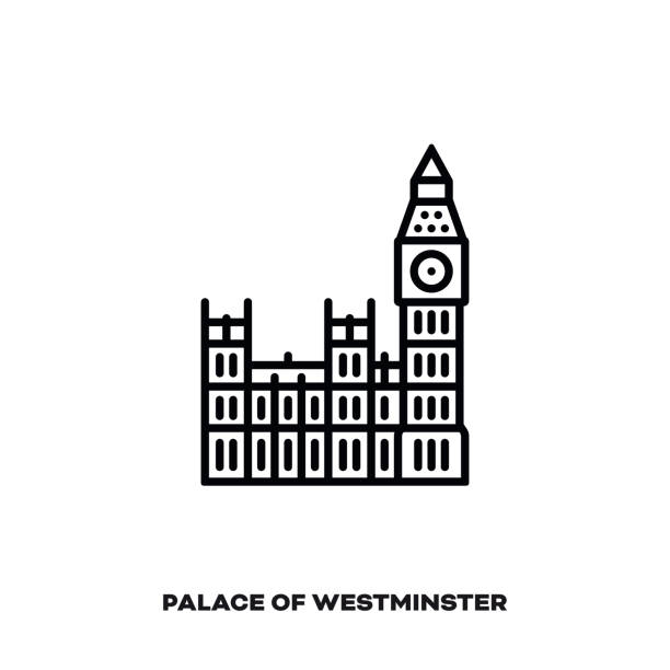 palace of westminster with big ben at london, england vector line icon. - колокольня stock illustrations