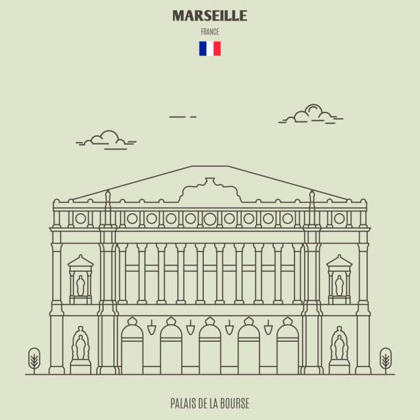 stockillustraties, clipart, cartoons en iconen met palais de la bourse in marseille, frankrijk. symbool van landmark - marseille