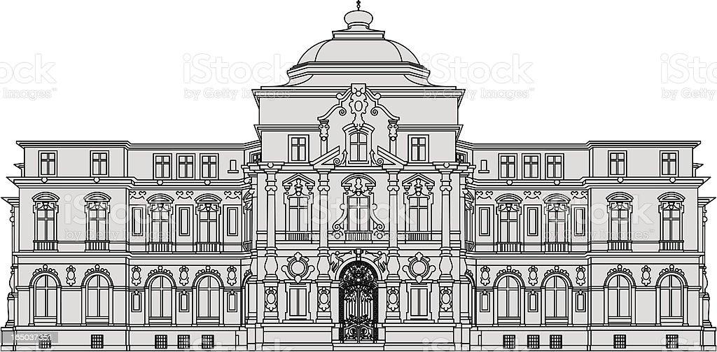 Palais Karlsruhe, historic building vector art illustration