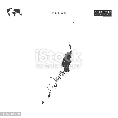 Palau Blank Vector Map Isolated on White Background. High-Detailed Black Silhouette Map of Palau.